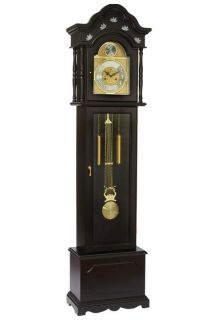 Grandfather Clock with Beveled Glass Winding Key 31 Day Movement in Black