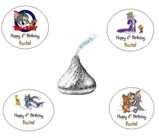 120 Tom and Jerry Personalized Custom Birthday Party Hershey Kiss Favors