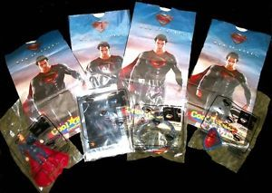 Wendy's Kid's Meal Superman Man of Steel Complete Set of 4 Toys and Bags Mint