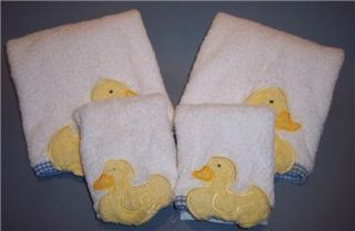 Pottery Barn Kids Rubber Duck Hand 2 Towel Washcloth