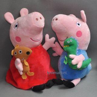 "2 Pcs Cute Peppa Pig Plush Doll Stuffed Toys Figure Peppa George 8"" Kids Gift"