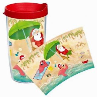 Tervis Flamingo Santa 16 oz Tumbler w Lid New Palm Trees Beach Christmas Wrap
