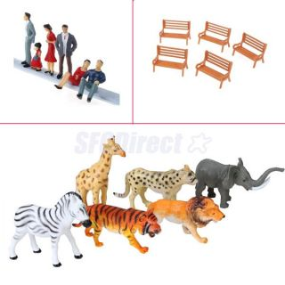 Dollhouse Farm Animals Toy Park Bench Painted Model Train RR People Figures