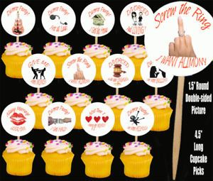 Divorce Party for Her Cupcake Picks Cake Toppers 12 Pcs