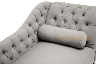 Gray Tufted Linen Fabric Modern Victorian Tufted Lounge Chaise Sofa Chair Grey