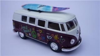 VW camper Van Hippy Bus Toy Model Yellow Diecast Pull Back Go Birthday Present