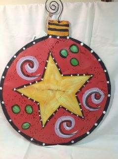 Large Christmas Season Decorative Door Hanger Ornament Red Black w White Dots