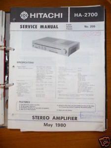 Service Manual FÜR Hitachi Ha 2700 Amplifier Original