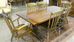 Vintage Ethan Allen Dining Set Trestle Table 6 Chairs Old Tavern Pine