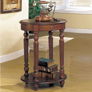 Traditional Cherry Round Turned Legs Tall Accent Side End Table Telephone Stand