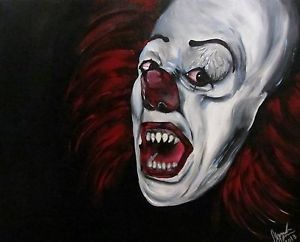 "Stephen King's ""It"" Pennywise Evil Clown Painting Scary Horror Art 16x20 Real"