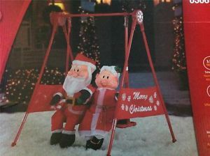 Santa Mrs Claus Porch Swing Animated Motion Outdoor Christmas Decoration Light