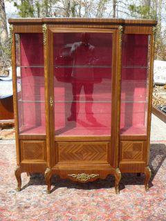 Antique 19c French XVI Mahogany Curio Crystal China Cabinet Inlay Ormolu Mounts