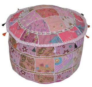 New Indian Embroidered Round Stool Seating Pouf Cover Cotton Turk Ottoman Covers