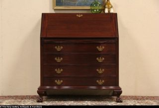 Maddox NY 1950 Vintage Secretary Desk Claw Ball Feet Secret Drawers