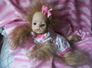 Reborn Sasquatch Baby Girl Art Doll Horror Bigfoot OOAK Newborn Mythical