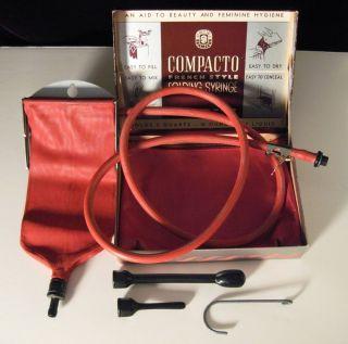 Vintage Compacto Folding Rubber Fountain Syringe Douche Enema in Original Box