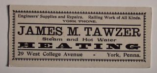 1920s Tawzer Heating Engineers' Supplies York PA Blot
