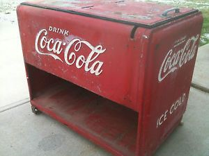 RARE Vintage 1930's Coca Cola Cooler Store Gas Service Station Sign Soda Antique