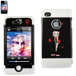 Reiko Betty Boop iPhone 4 4S Silicon Hard Hybrid Protector Case White Black