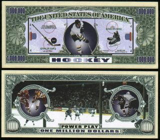 Hockey Million Dollar Bill Funny Money Lot of 10 Bills