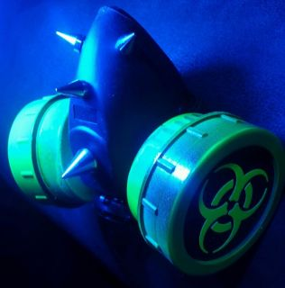 Neon Green UV Biohazard Cyber Goth Rave Gas Mask Spike Dual Respirator Zombie