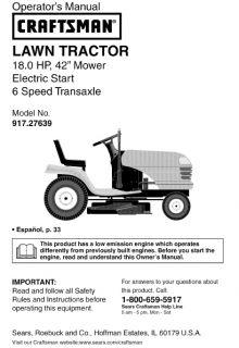 41  Craftsman Riding Mower Lawn Tractor Manuals 18 HP Super Vintage L K O 4