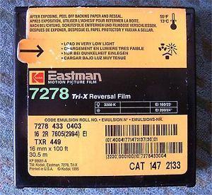 Eastman Kodak 7278 16mm Tri x Reversal Motion Picture Film