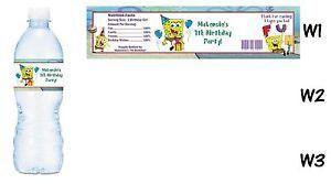 Spongebob Squarepants Printed Water Bottle Labels Birthday Party Favors