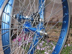 Old School BMX Blue Araya 7c Wheels with Hubs and Spokes Super Nice 1980'S