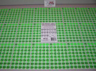 1000 Snack Soda Vending Machine Green Price Label Stickers Free SHIP
