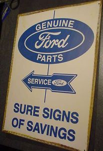 Vintage Genuine Ford Parts Service Metal Tin Sign Truck Auto US Garage Store Car