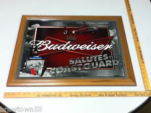 RZ1 Budweiser Beer Sign Mirror Bar Signs 1 Salutes The Coast Guard Military
