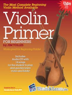 W Jim Tolles Introduction to Violin Lessons DVD Book CD