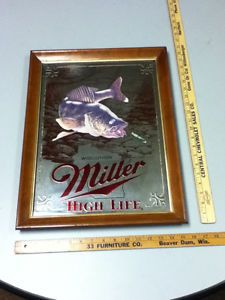 UI5 Miller Beer Sign High Life Mirror 1st Edition Walleye 5th Sportsman Series