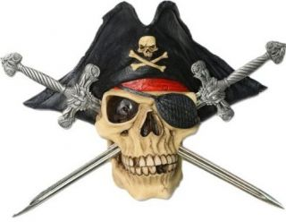 Jolly Roger Pirate Human Skull Crossbones Swords Desk Letter Opener Knife Set 2