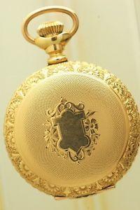 6 Size Waltham 15 Jewel Pocket Watch Fancy Engraved Hunting Case Porcelain Dial