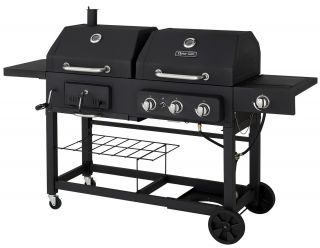 New Dual Fuel BBQ Grill 48 000 BTU 3 Burner LP Propane Gas Charcoal 42 Burger