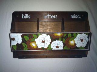 Vtg Wooden Letter Holder Mail Organizer Key Hook Wall Hanging Magnolia Flowers