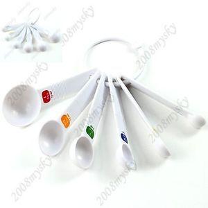 6pc White Plastic Measuring Spoons Dry Liquid Cooking Scoop Kitchen Tool Utensil