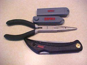 Assorted Fishing Tools Rapala Folding Knife plyers Sharpener Eyelet Opener