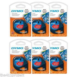 6pk Six Dymo LetraTag Cosmic Red Refill Tapes Letra Tag Lt QX50 Label Makers