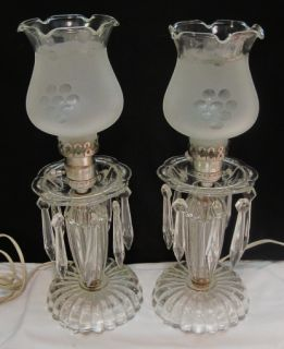 Vintage Boudoir EAPG Mantle Hurricane Lamps Pair Cut Glass Globes Grapes Prisms
