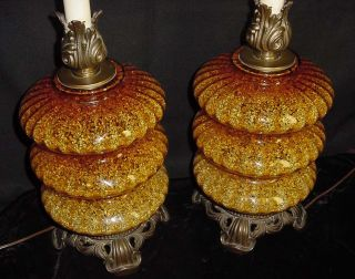 Retro Mid Century Hollywood Regency Large Glass Lamps
