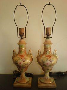 Stunning Pair Antique Vtg Hand Painted Floral Ceramic Porcelain Urn Lamps