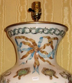 Pair Bacchus Bacchanal Decoupage Glass Table Lamps