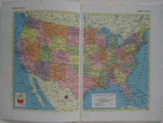 1955 Boise Griffin Steamship Co World Atlas Color Maps