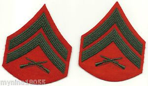 Lot of 2 US Marine Corps Infantry Patches Chevrons w Crossed Rifles