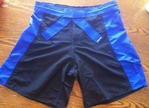 Brand New Martial Arts Belt Rank Fight Shorts Blu Blk W32 MMA bjj UFC Grappling