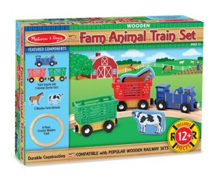 Melissa and Doug Wooden Farm Animal Train Track Set New